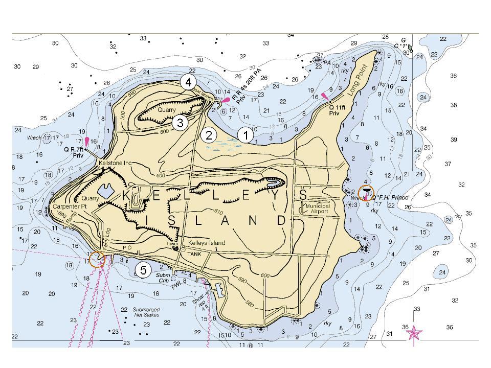 Kelleys Island Fishing Map